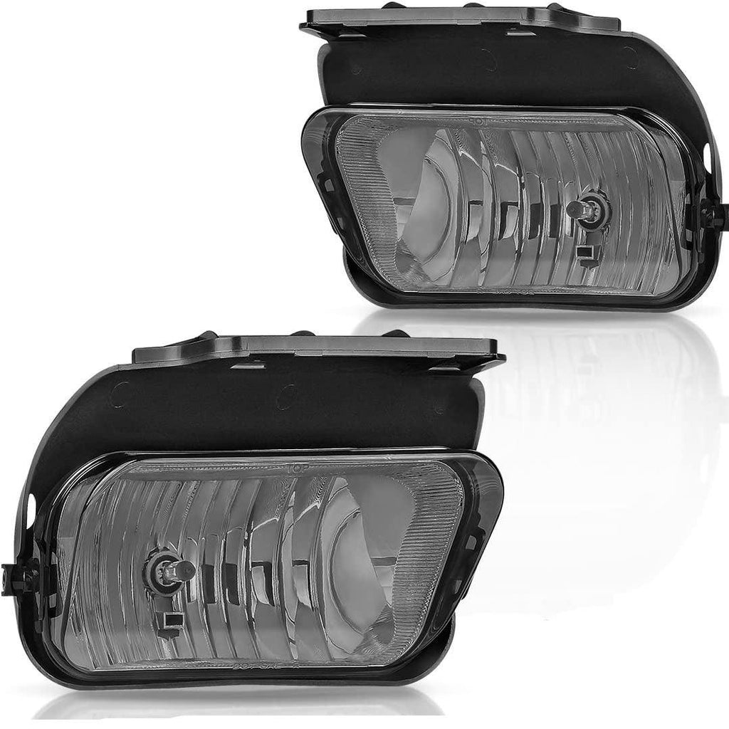 Fog Lights Compatible with 03-07 Chevy Silverado/ 02-06 Avalanche Smoke Lens w/Blubs