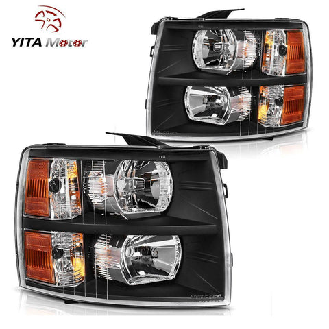 Headlight Assembly and Fog Lights Combo Set For 2007-2014 Chevy Silverado, Black Housing Headlights Replacement, Clear Lens Fog Lamps w/Bulbs - YITAMotor