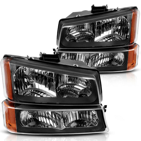 Headlight Assembly For 2003-2007 Chevy Silverado Black Housing Amber Side + Bumper Headlights Lamps - YITAMotor