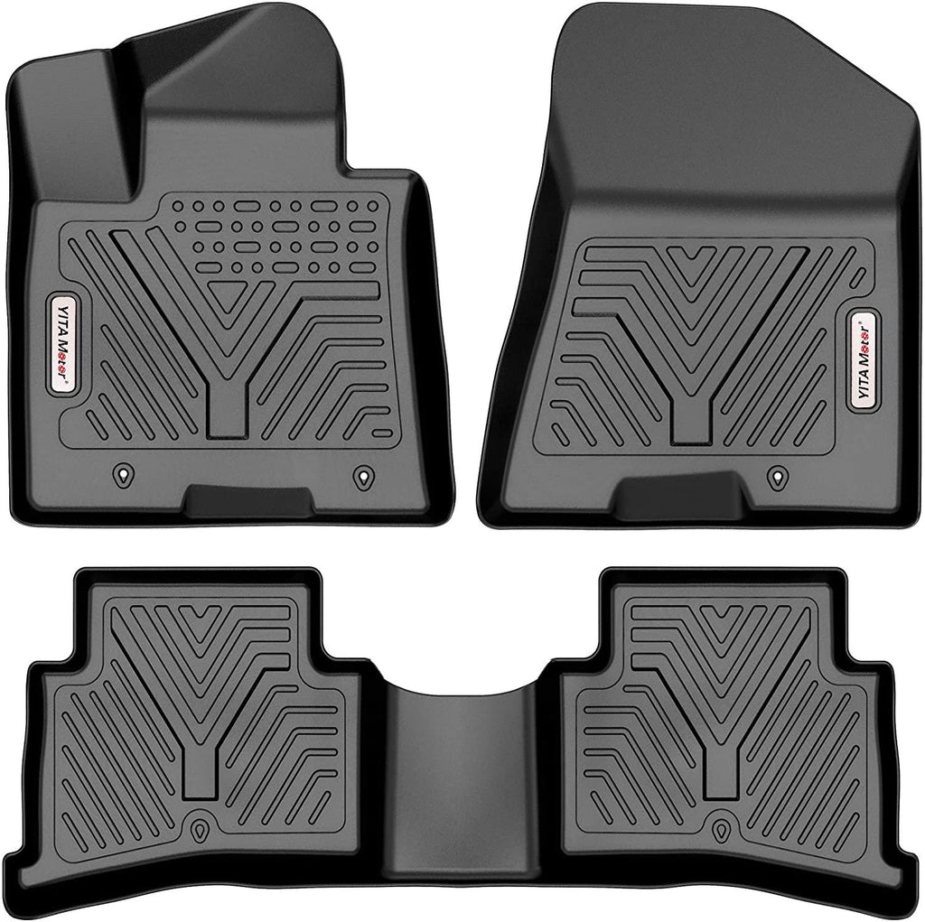 YITAMOTOR Floor Mats For 2017-2021 Kia Sportage / 2019-2021 Hyundai Tucson,Custom Fit Black TPE Floor Liners, 1st & 2nd Row All-Weather Protection