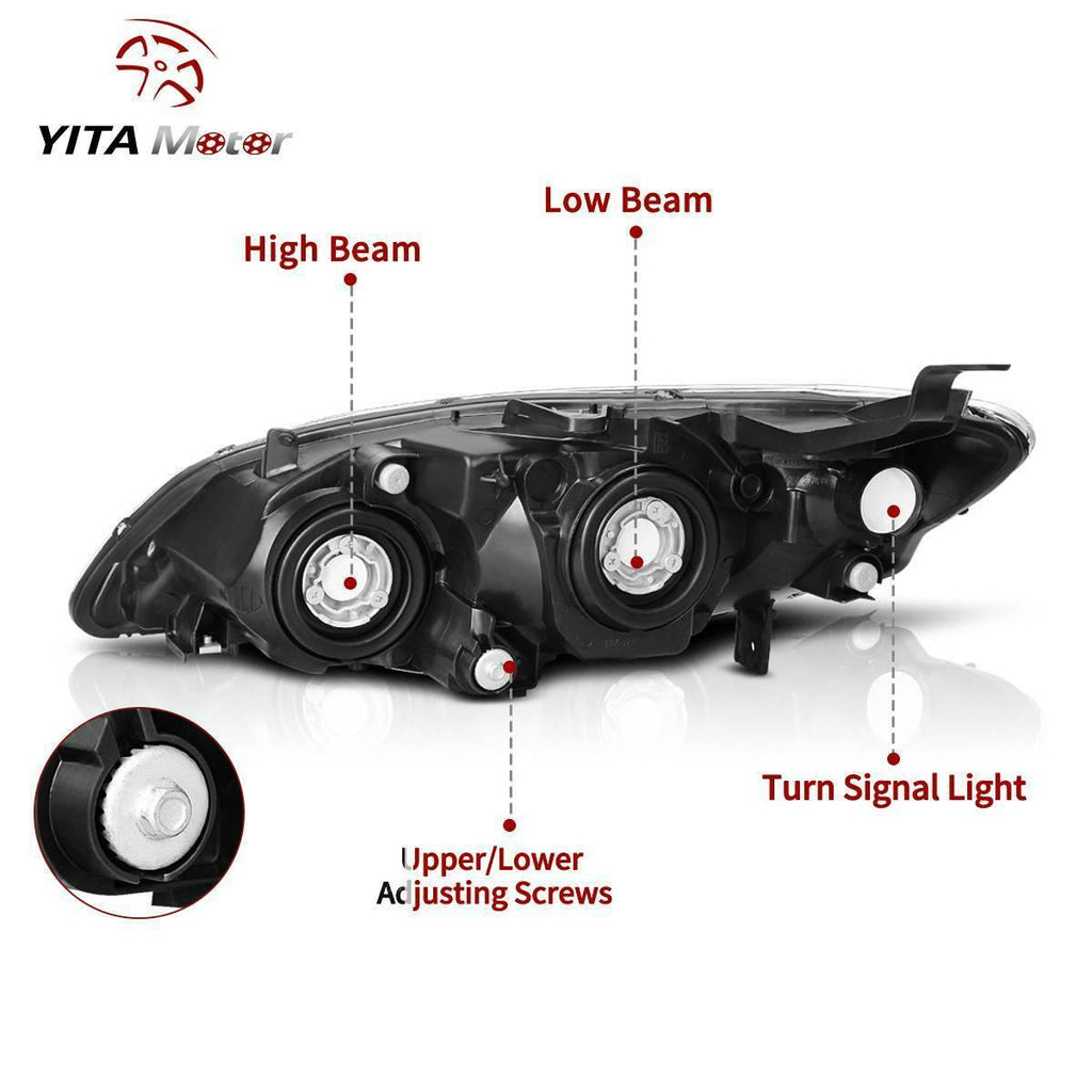 Headlight Assembly Compatible with 2004 2005 Honda Civic Chrome Housing Headlamps - YITAMotor