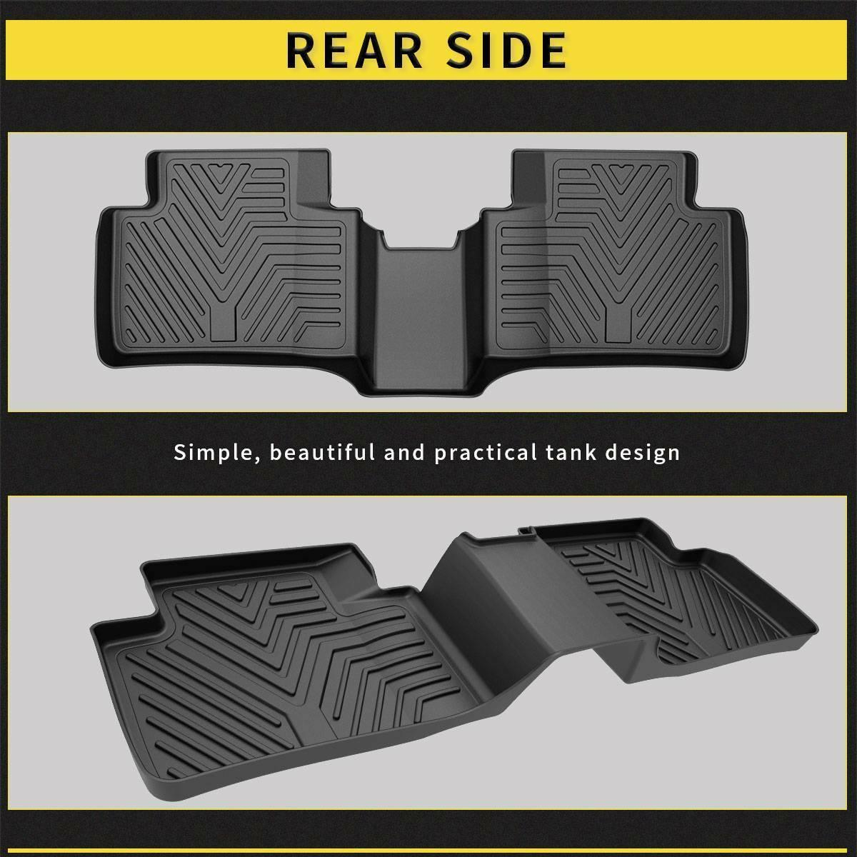 Floor Liners for 2016-2021 Honda Civic Sedan/Hatchback or Type R, Floor Mats 1st & 2nd Row All Weather Protection, Black