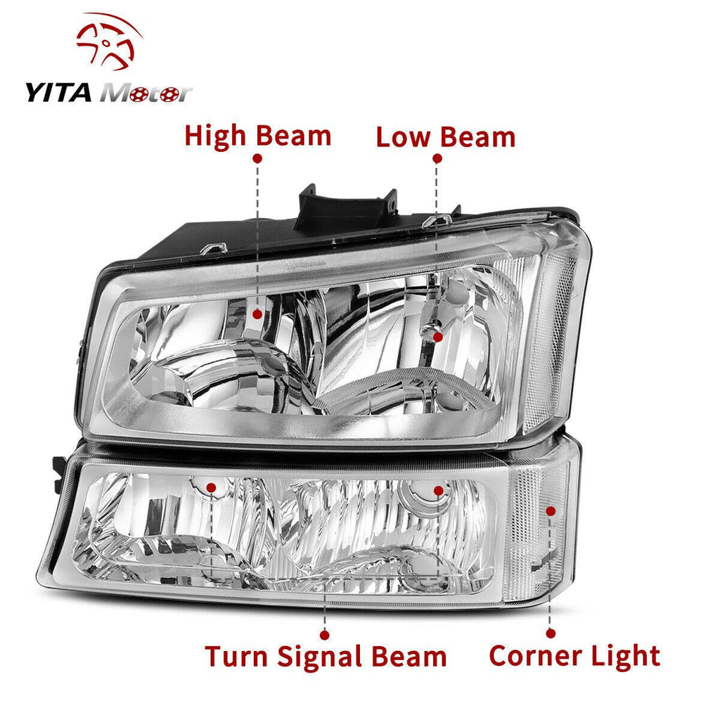 YITAMOTOR For 03-06 Chevy Silverado Clear Side Headlight + Tail Light Rear Lamp