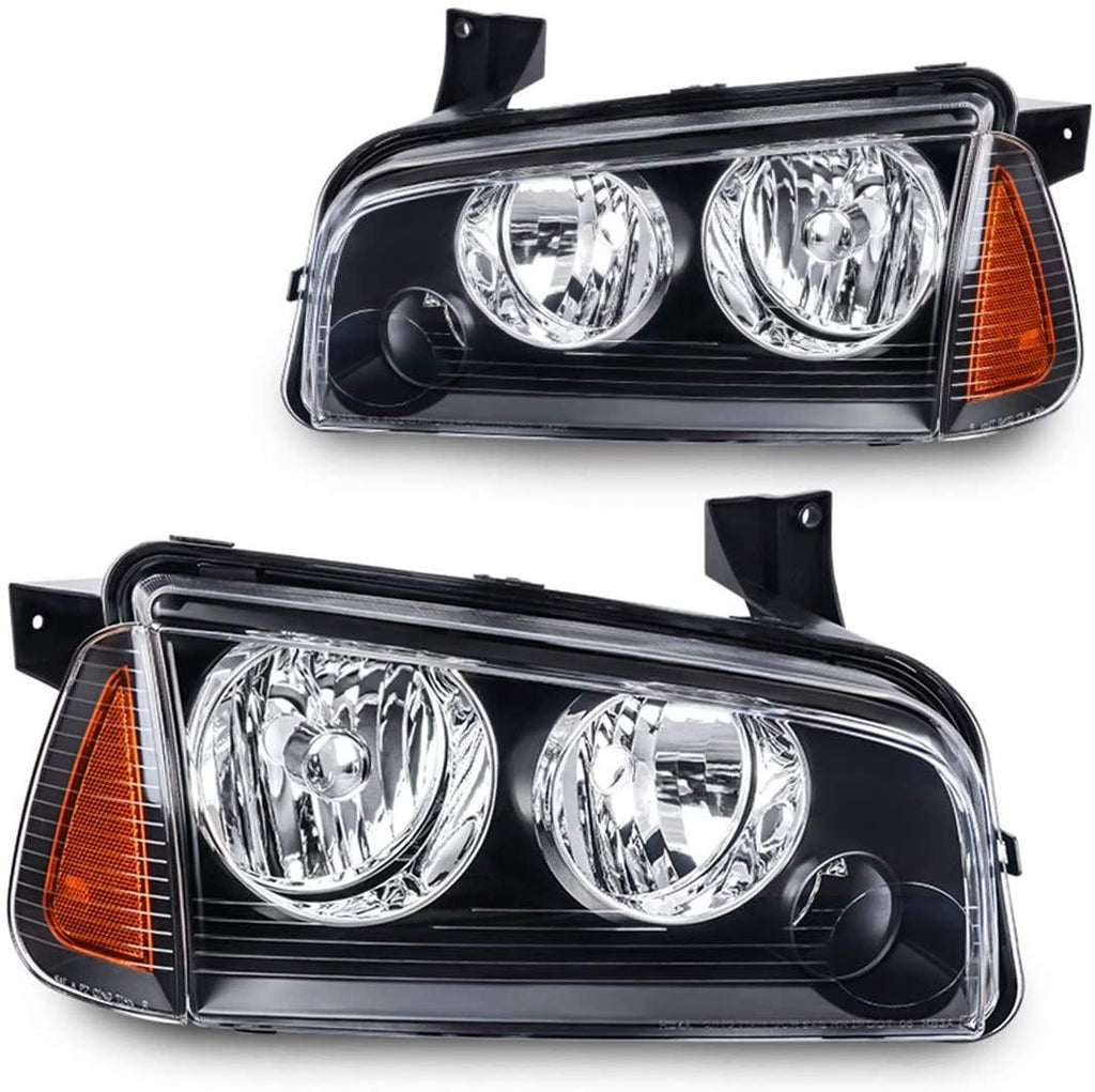 Headlight Assembly Compatible with 2006-2010 Dodge Charger Black Housing Amber Reflector with Corner Signal Lights - YITAMotor