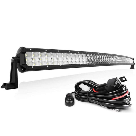 "50"" Curved LED Light Bar Tri-Row 48600LM 486WSpot Flood Combo Beam Lights with Wiring Harness"