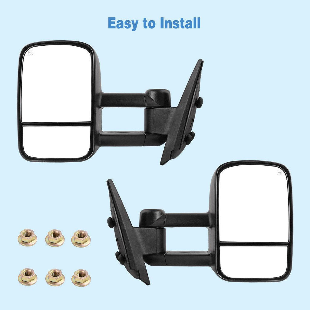 For 07-14 Chevy Silverado GMC Sierra 1500/2500/3500 Pair Set Power Heated YITAMOTOR Towing Mirrors - YITAMotor