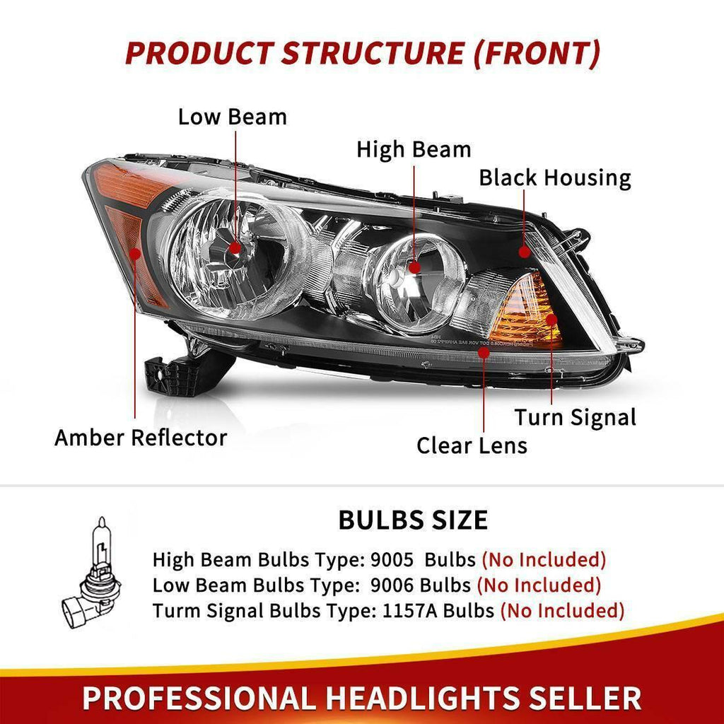 Headlight Assembly Compatible with 2008-2012 Honda Accord 4-Door Sedan Driver & Passenger Side - YITAMotor