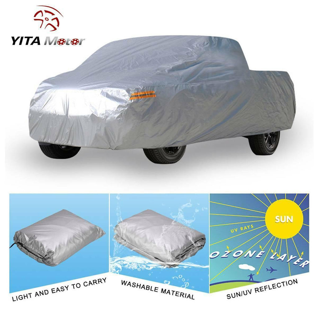 "Truck Cover Premium Waterproof Sun UV Rain Heat Resistant Fits Pickup Up to 210"" - YITAMotor"