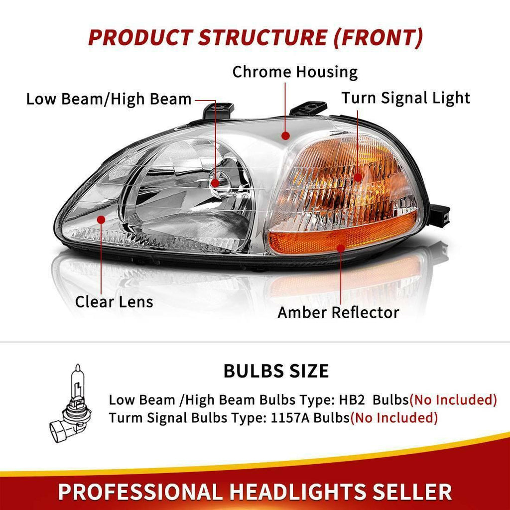 Headlight Assembly Compatible with 1996 1997 1998 Honda Civic 33151-S01-305 33101-S01-305 - YITAMotor