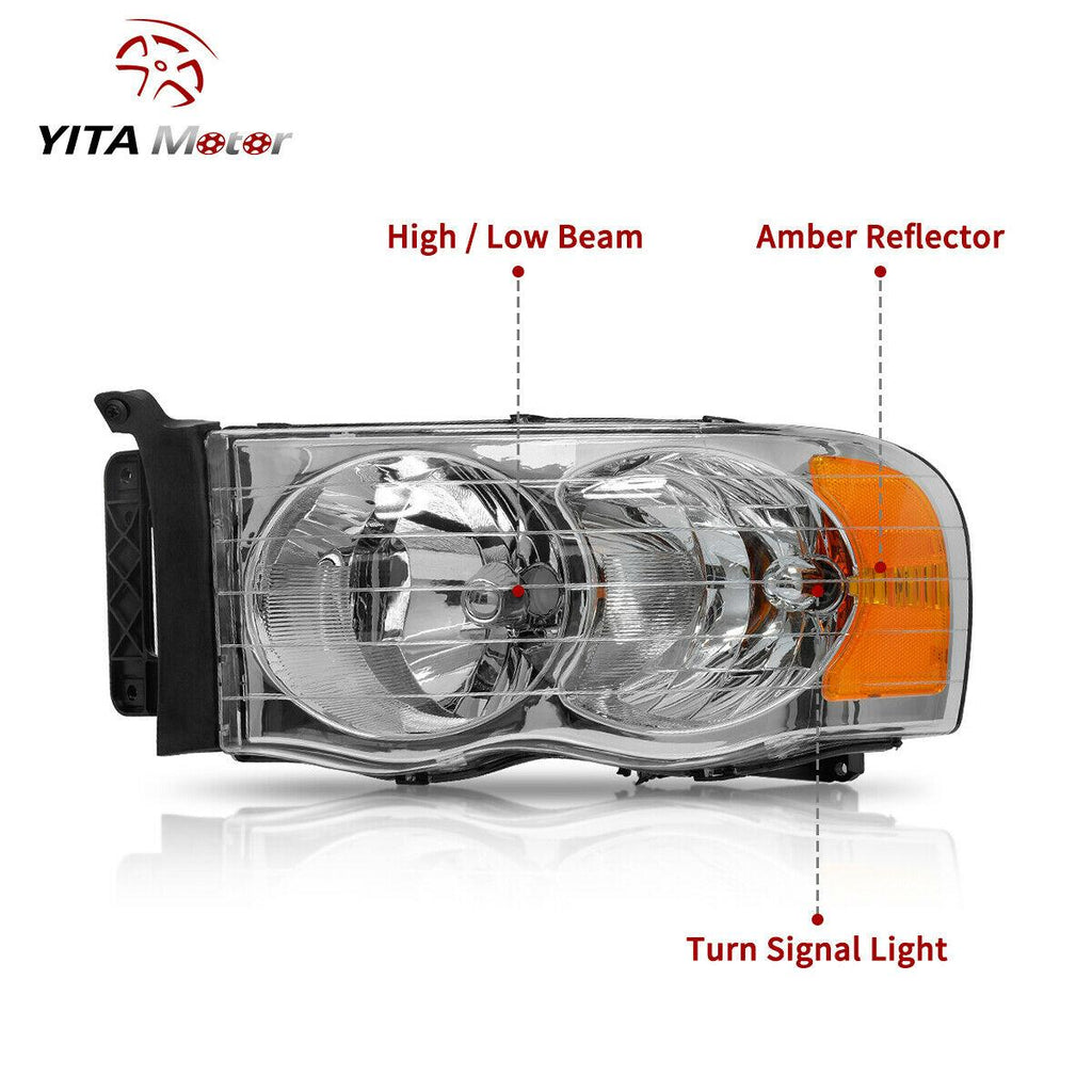 YITAMOTOR 2002-2005 Dodge Ram Pickup Truck Headlamps Chrome Housing with Amber Reflector Clear Lens