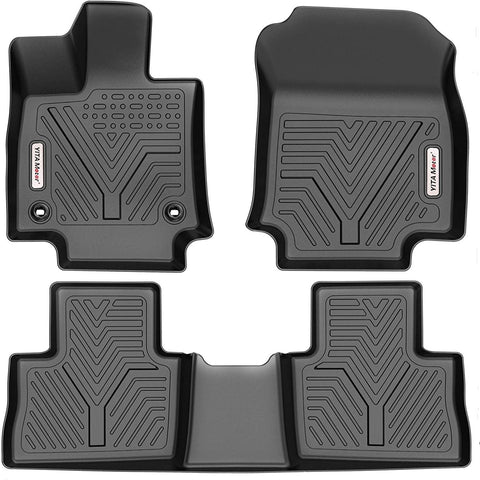 YITAMOTOR Floor Mats For 2019-2021 Toyota RAV4, Custom Fit Black TPE Floor Liners, 1st & 2nd Row All-Weather Protection