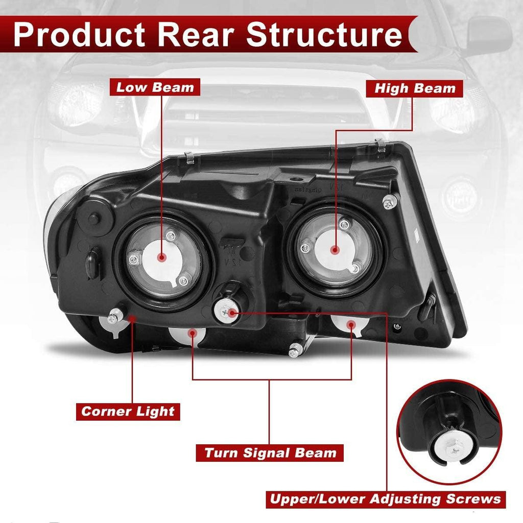 Headlight Assembly Compatible with 1999 2000 2001 2002 2003 2004 Jeep Grand Cherokee,OE Black Housing Headlamp - YITAMotor
