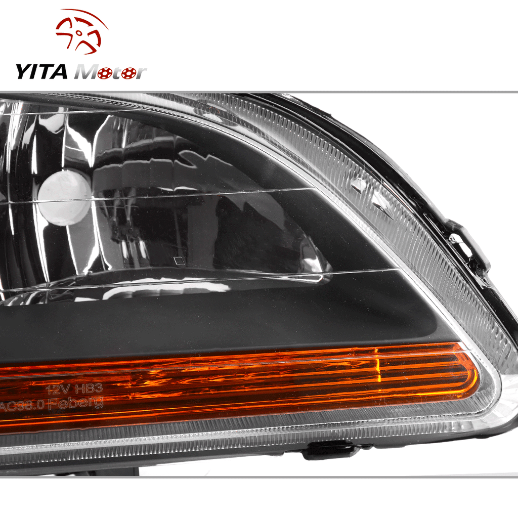 Headlight Assembly Fits for 1998 1999 2000 2001 2002 Honda Accord Headlamp Replacement, Chrome Housing Amber Reflector - YITAMotor