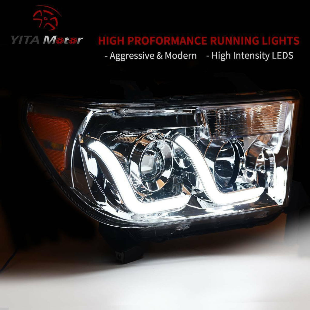YITAMOTOR For 2007-2013 Toyota Tundra 08-17 Sequoia LED Tube Projector Headlight