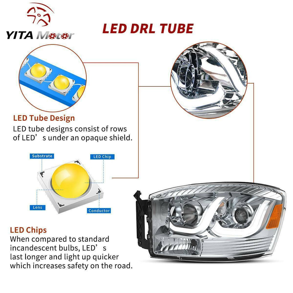 Projector Headlight Assembly Kit Compatible with 2006-2009 Dodge Ram 1500 2500 3500 Pickup Truck, Headlamps w/LED DRL Tube Amber Reflector