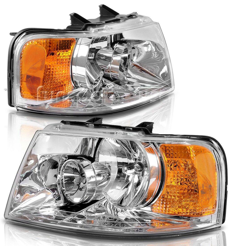 YITAMOTOR Headlight Assembly Fits for 2003-2006 ford Expedition headlamps Chrome Housing Amber Reflector