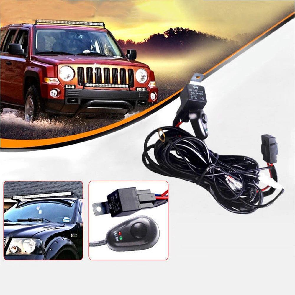 180W 12V 8ft Led Work Light Bar W/Fuse 40A Wiring Harness Kit for Jeep Ip Wiring Harness on safety harness, amp bypass harness, battery harness, obd0 to obd1 conversion harness, alpine stereo harness, pet harness, dog harness, fall protection harness, radio harness, cable harness, oxygen sensor extension harness, nakamichi harness, pony harness, electrical harness, engine harness, suspension harness, maxi-seal harness,