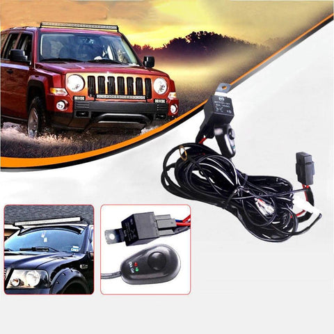 180W 12V 8ft Led Work Light Bar W/Fuse 40A Wiring Harness Kit for Jeep Pickup ATV Off Road Fog Driving Light Bar with Fuse Relay On & Off Switch - YITAMotor