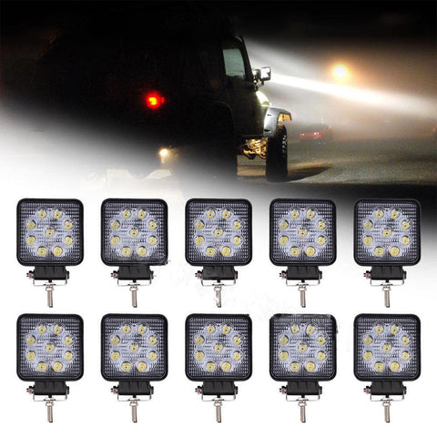 "10Pcs 4"" 27W Square LED WORK LIGHT BAR Flood OffRoad Driving Fog Light 2700LM - YITAMotor"