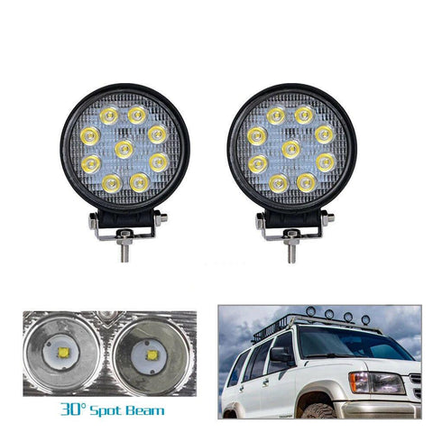 YITAMOTOR 2PCS 4Inch 27W Round LED Work Light Pod Lights Spot Light Off Road Driving Light Fog Light Waterproof Truck Car ATV SUV Boat 4WD ATV 12V - YITAMotor