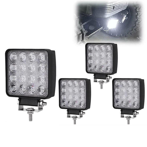 4Pcs 4Inch 48W Square Flood Work Light Offroad Light Led Fog Light Truck Light Driving Light Boat Lighting for Tractor ATV 4X4 12V 24V - YITAMotor