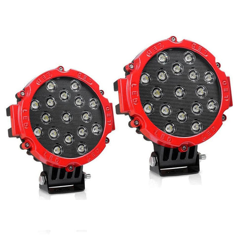 "2x 7"" LED Offroad Pod Lights Bar 51W with Mounting Bracket, Red Round Spot Bumper Driving Lamp Headlight for Offroader, Truck, Car, ATV, SUV, Jeep - YITAMotor"