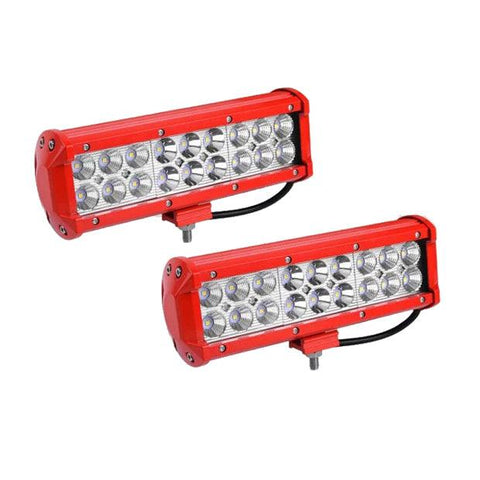 LED Light Bar Red 2Pcs 54W 9inch LED Work Light Spot Flood Combo Offroad Driving Fog Pod Lights Waterproof ATV 4X4 4WD Pickup Truck Golf Cart Boat 12V - YITAMotor