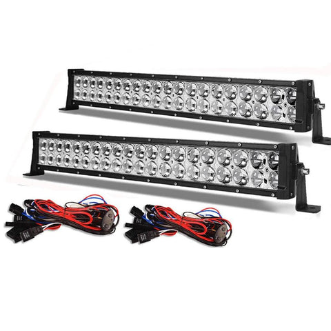 24'' 120W 20000LM Straight Offroad LED Light Bar with 8ft Wiring Harness Light Spot - YITAMotor