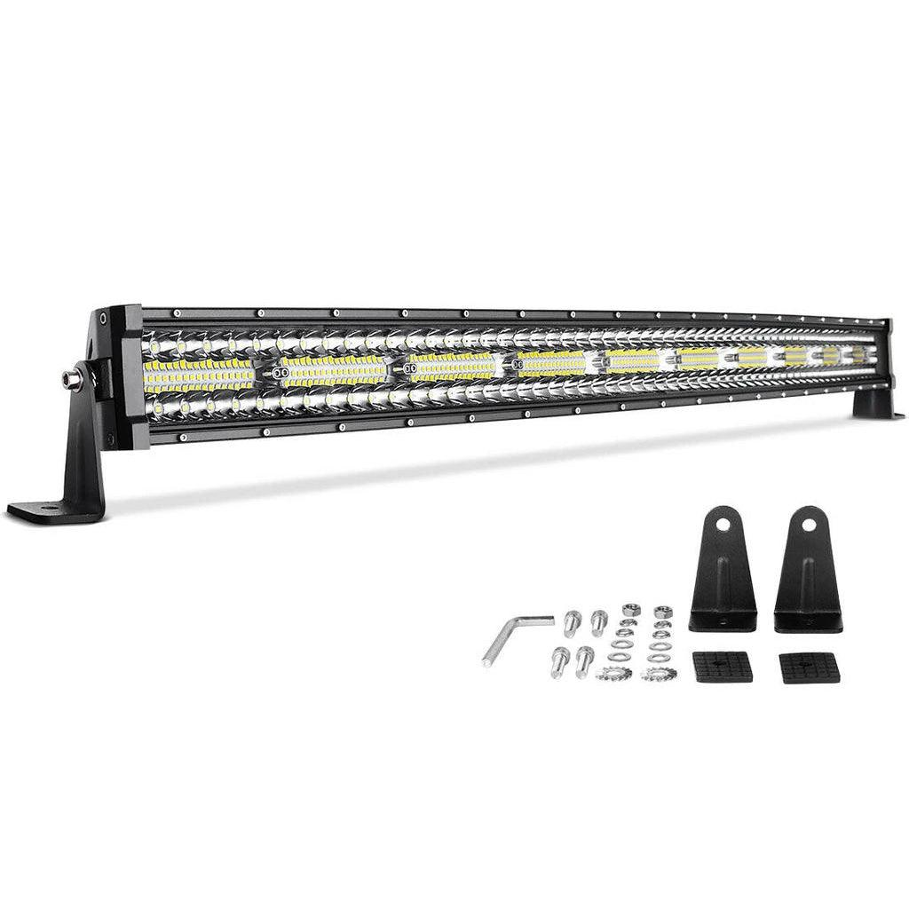 42'' Curved 600W Triple Row 40000LM PCS Upgrated Chipset Led Work Light for Driving/Boating Light IP68 WATERPROOF Spot & Flood Combo Beam Light Bars - YITAMotor