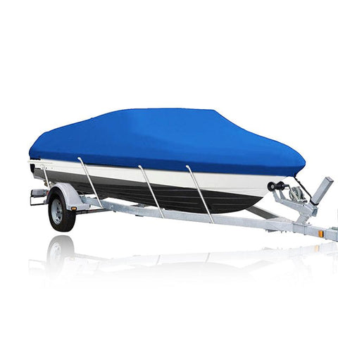 17'' 18'' 19'' Boat Cover Heavy Duty Waterproof Trailerable Fish Ski V-Hull Bass Blue - YITAMotor