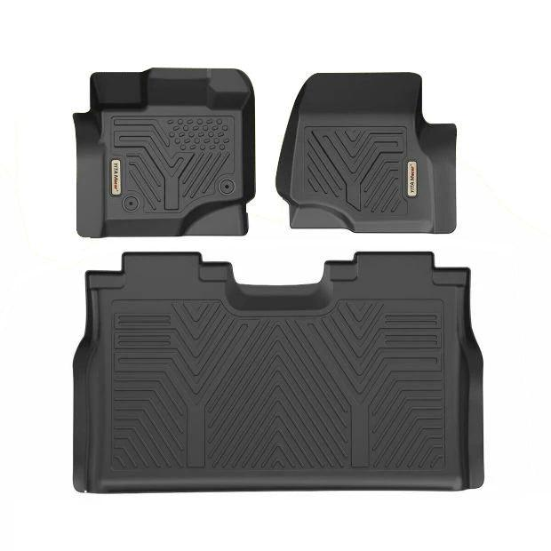 LSAUTO Floor Mats for Ford F-150 SuperCrew 2015-2019 Front Row Bucket Seats All-Weather TPV Liners Custom Fit Front 2pcs FMF1503D