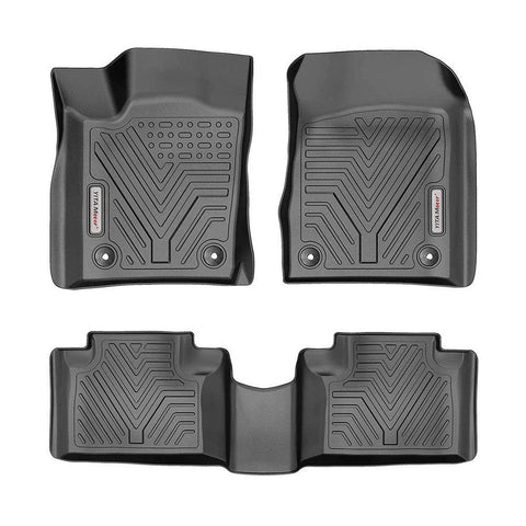 YITAMOTOR Floor Mats, Custom fit Floor Liners for 2016-2020 Jeep Grand Cherokee/Dodge Durango, 1st & 2nd Row All Weather Protection, Black - YITAMotor