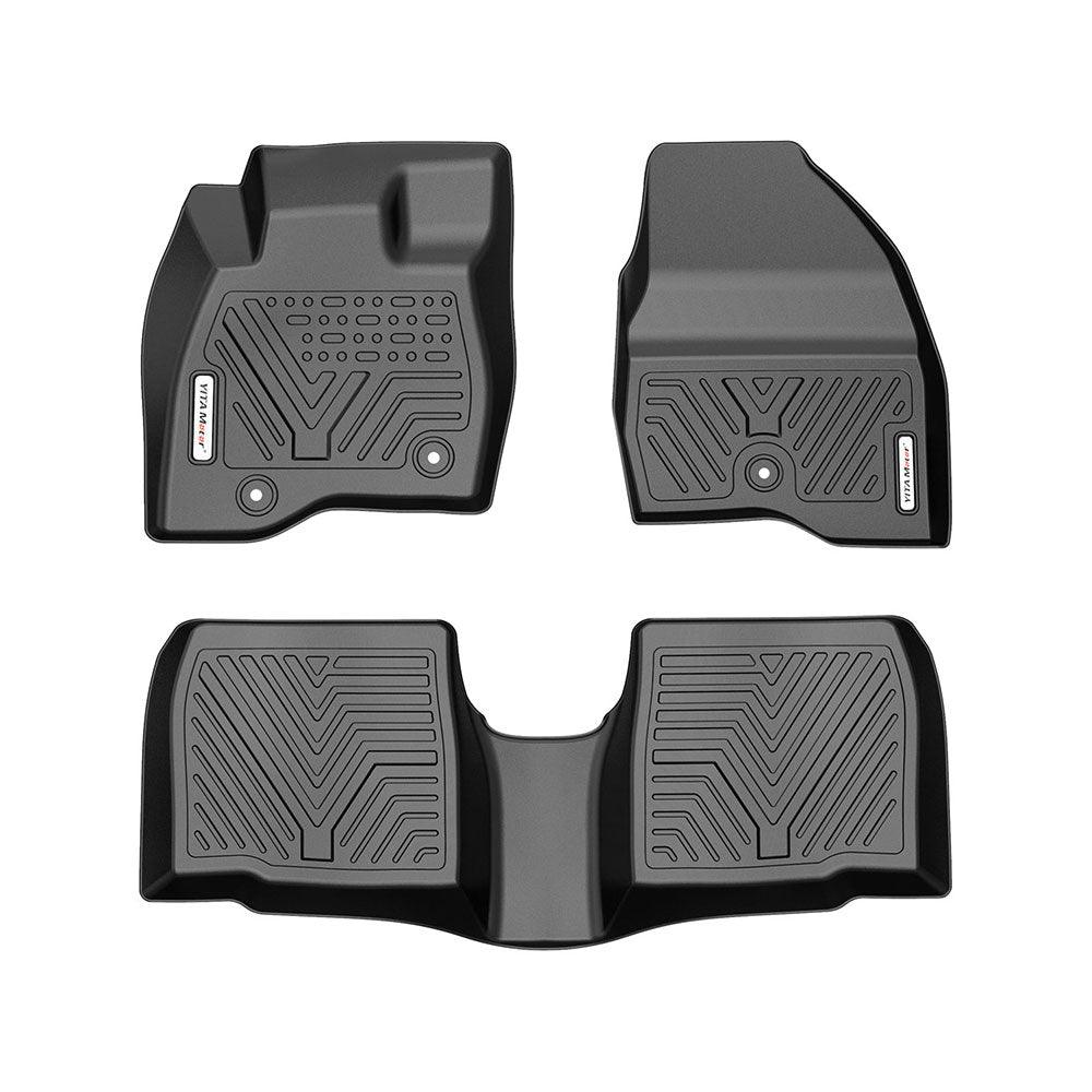 YITAMOTOR All Weather Floor Mats Compatible with 2017 2018 2019 Ford Explorer Black 3pcs Set Floor Liners - YITAMotor