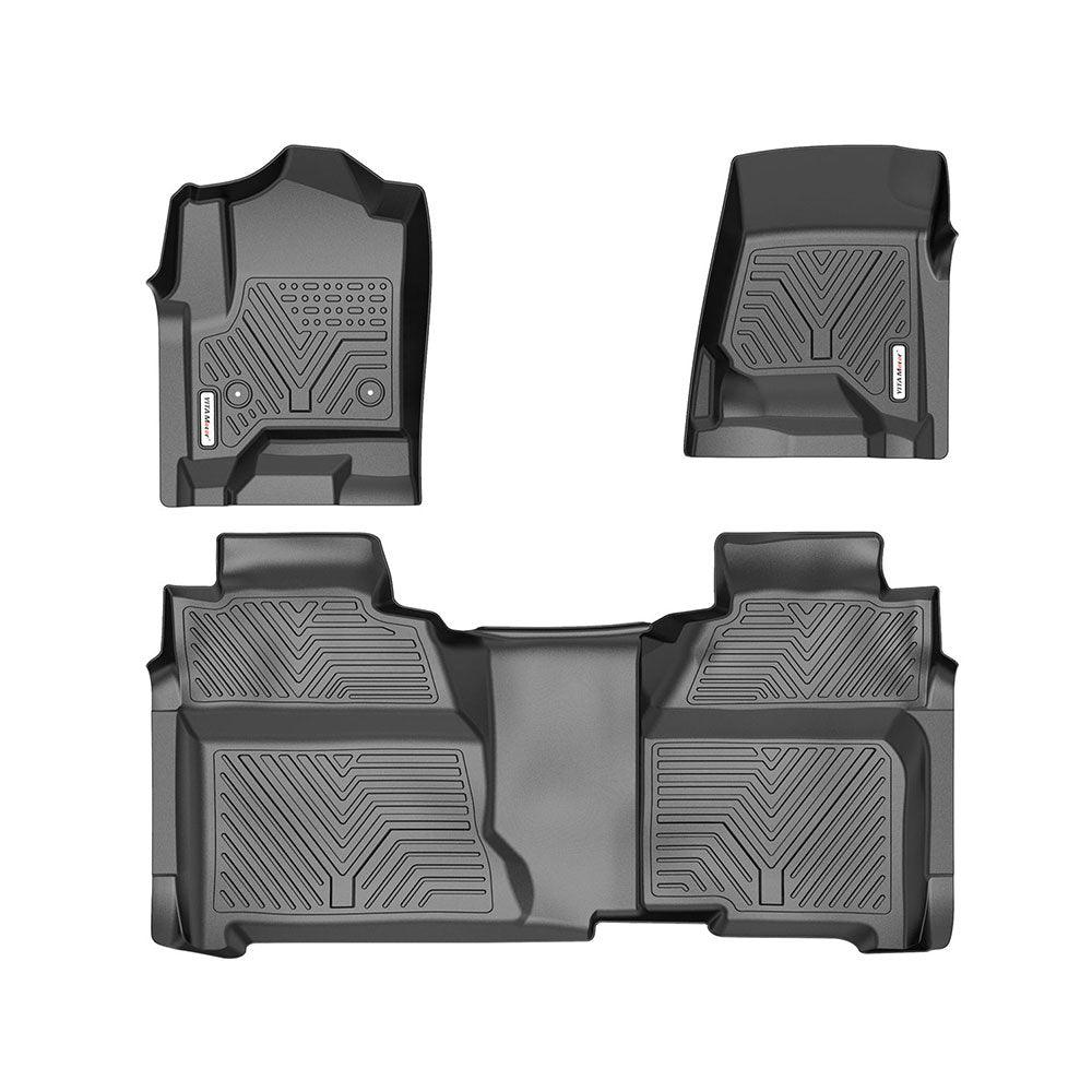 YITAMOTOR All Weather Floor Mats for 2014-2018 Chevy Silverado / GMC Sierra 1500 Crew Cab Set Floor Liners - YITAMotor