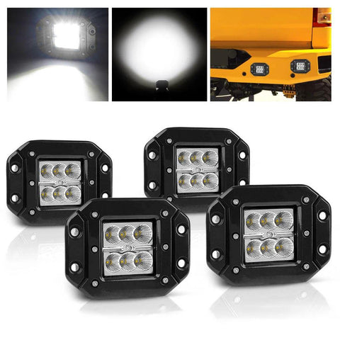 "4PCS LED Pods Flood Flush Mount 5"" 24W, 2400LM Off Road Fog Work Lights Compatible with Motorcycle, Dirt Bike, Trucks, Jeep, UTV, Boats - YITAMotor"