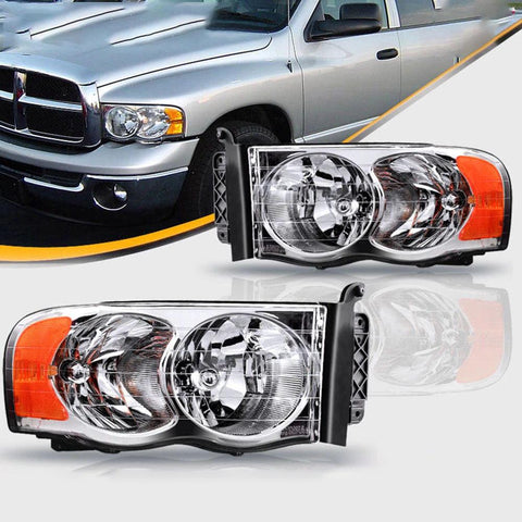 Pair Chrome Headlights Assembly for 2002-2005 Dodge Ram 1500 2500 3500 Pickup Truck OE Style with Amber Reflector Clear Lens - YITAMotor