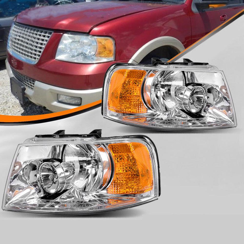 YITAMOTOR Headlight Assembly Fits for 2003-2006 ford Expedition headlamps Chrome Housing Amber Reflector - YITAMotor