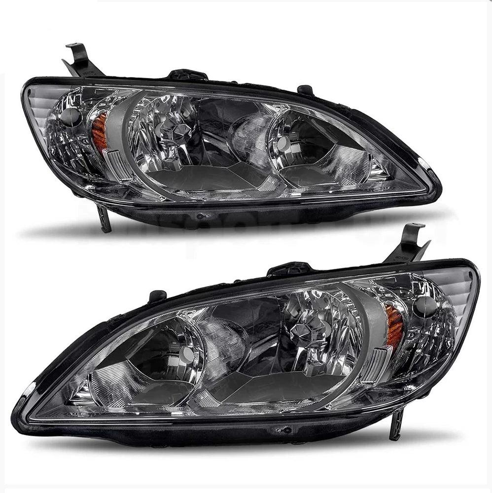 Black Headlights for 2004 2005 Honda Civic 2Dr/4Dr