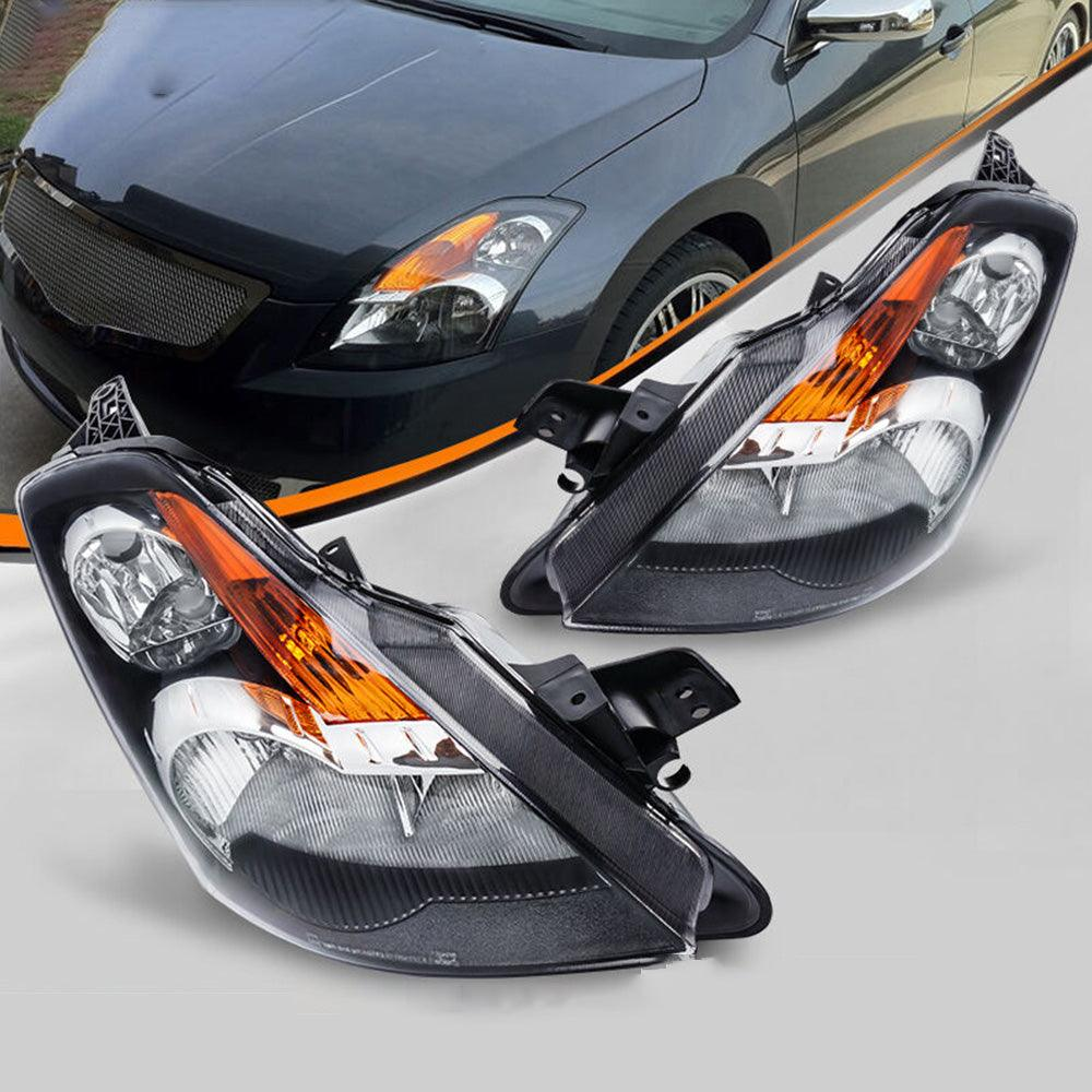 2x Black Housing Headlight for 2007 2008 2009 Nissan Altima 4-Door Sedan with Amber Reflector Clear Lens - YITAMotor