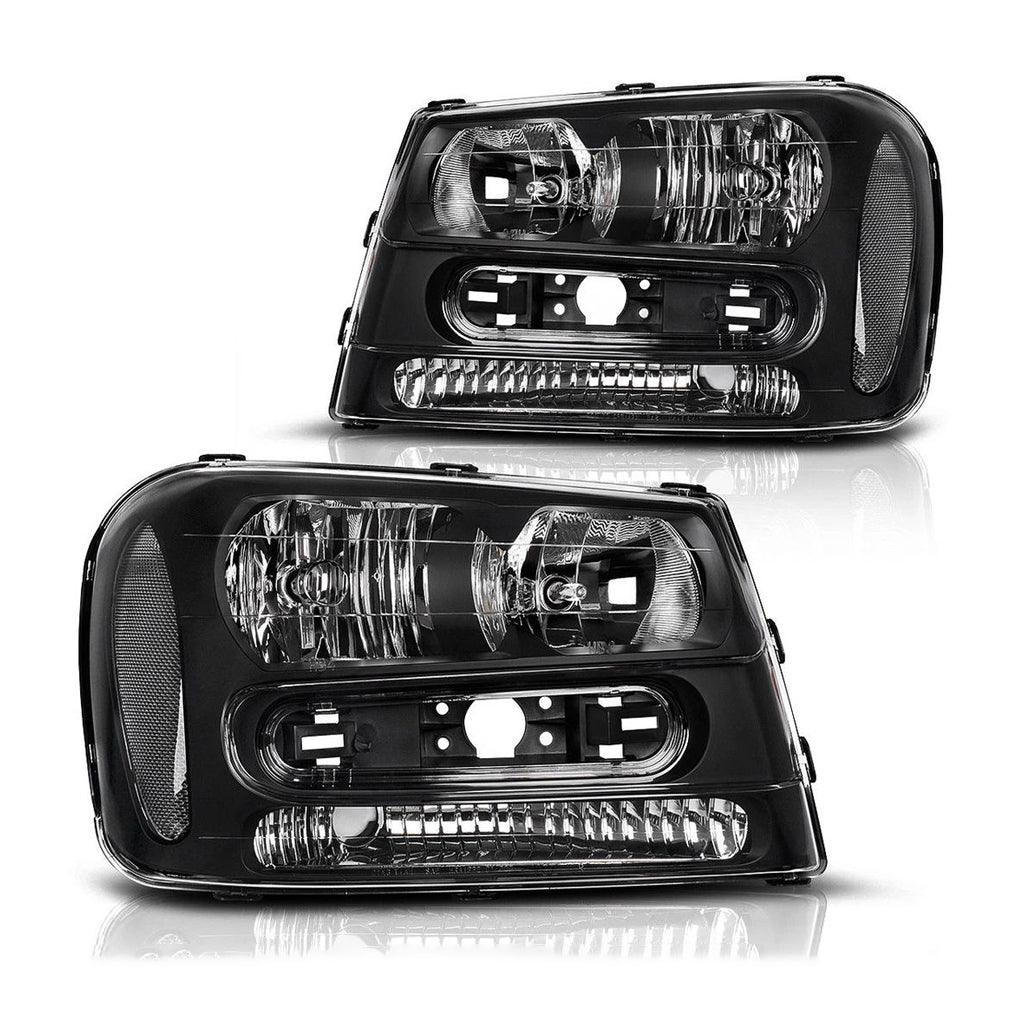 Headlights Pair Set for 02-09 Chevrolet Trailblazer Replacement Black Housing Headlamp (Except for 2006-2009 LT models) - YITAMotor