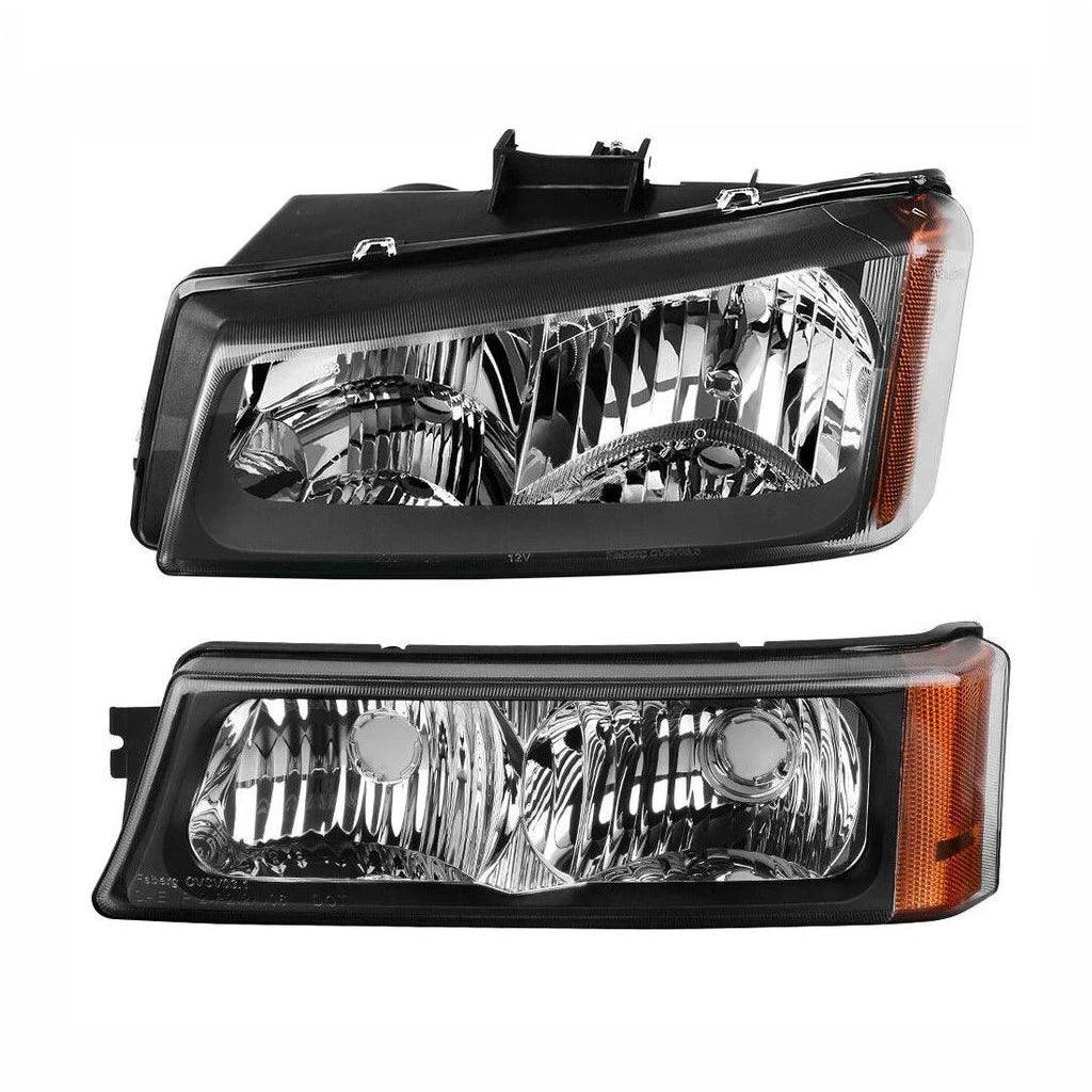 For 2003-2006 Chevy Silverado Black Housing Amber Side Headlights/Lamp Assembly - YITAMotor