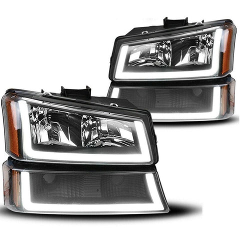 Black Housing Headlight For 03-06 Chevy Avalanche / 03-07 Chevy Silverado 1500HD / 03-06 Chevy Silverado 2500HD W/Led Drl(Passenger & Driver Side) - YITAMotor
