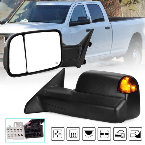 For 2009-2015 Dodge RAM Puddle Signal LED Power Heated Driver Left Tow Mirror - YITAMotor