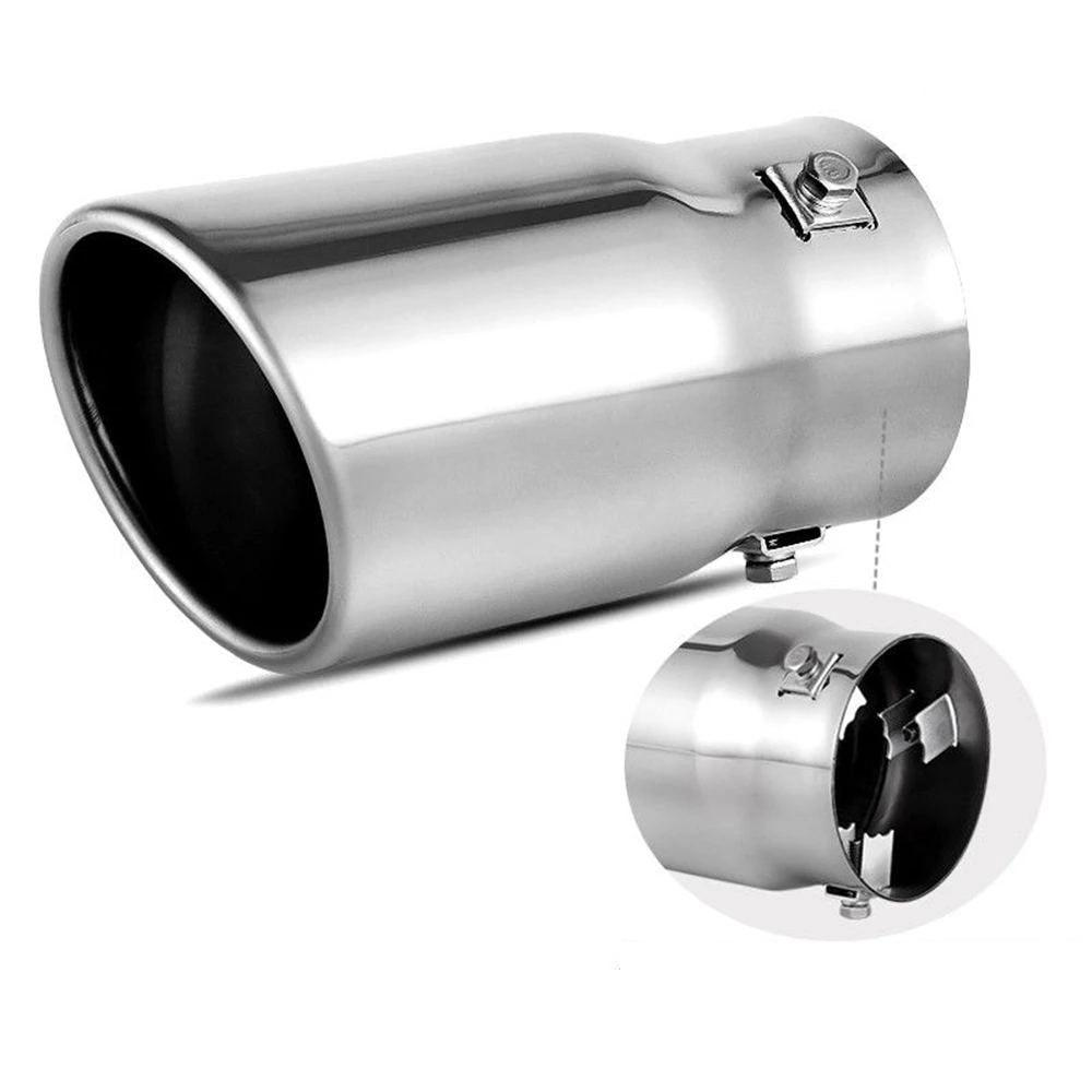 """Adjustable 2.5/"""" Inlet 3.5/"""" Outlet Chrome Stainless Steel Exhaust Muffler Tip"""
