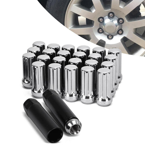 24 Chrome 14x1.5 Spline Anti Theft Lug Nuts + 2 Key For Trucks - YITAMotor