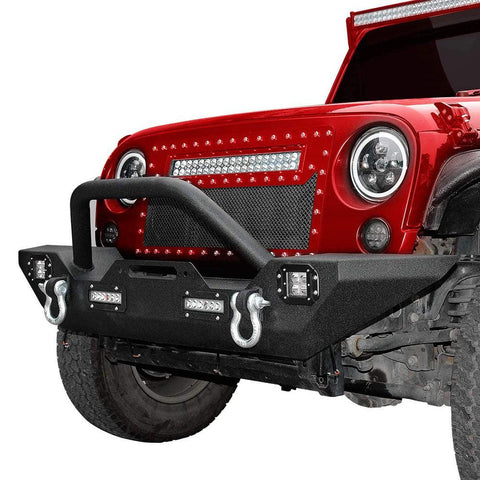 Powder Coated Front Bumper W/LED Lights for Jeep Wrangler 1987-2006 JK - YITAMotor
