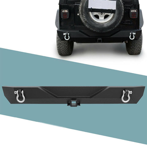 For Jeep Wrangler 87-06 TJ YJ rear Bumper W/ D-rings Powder Coated - YITAMotor