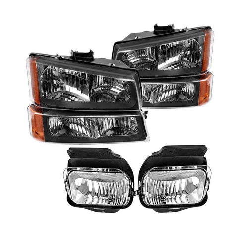 For 03-06 Chevy SilveradoHeadlights+Bumper Signal Lamp+Driving Fog Lights - YITAMotor