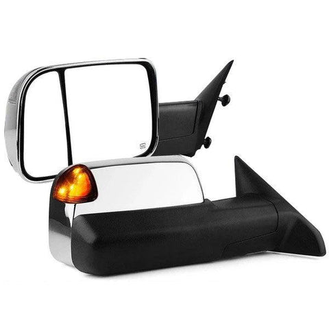 2009-2012 Dodge Ram Power Heated Signal LED Puddle Light Chrome Tow Mirrors - YITAMotor