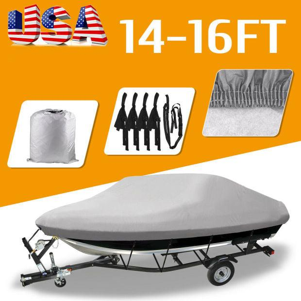 "14-16FT Waterproof Heavy Duty Trailerable Fishing Ski Boat Cover V-Hull Beam 90"" - YITAMotor"